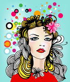 Woman and flowers. Illustration of pretty woman with colorful circles and flowers in her hair Royalty Free Stock Photos