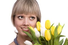 Woman with flowers. Stock Photography