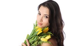 Woman with flowers Stock Images