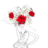 Woman with flowers. Universal template for greeting card, web page, background Stock Photo
