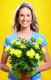 Woman with flowers Royalty Free Stock Images