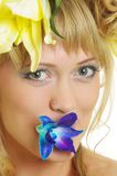 Woman with flowers Royalty Free Stock Photography