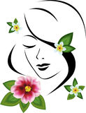 Woman with flowers. Face of woman painted with  colors black lines and flowers executed with  help of mesh Stock Photos