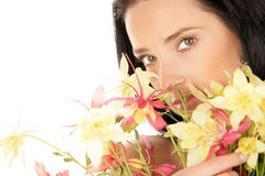 Woman with flowers Stock Image