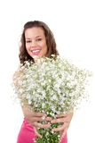 Woman and flowers Royalty Free Stock Photos