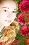 Woman and flowers Stock Photography