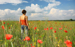 Woman and flowers. Woman, poppies and azure sky stock images