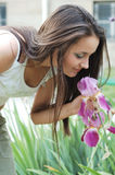 Woman and flowers Royalty Free Stock Images