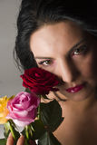 Woman with flowers royalty free stock photos