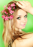 Woman with flowers apple tree Royalty Free Stock Images