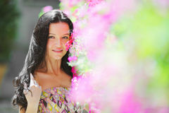 Woman in flowers Royalty Free Stock Image