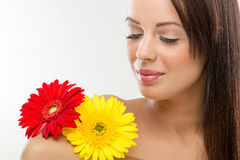 Woman and flowers, Stock Images