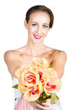 Woman with flowers Stock Photos