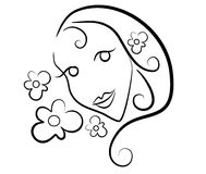 Woman Flowers Clip Art Outline. A simple clip art illustration in black and white outline of the head of a woman with flowers Stock Photos