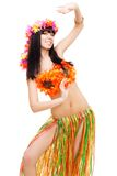Woman in flowers costume dance Stock Photo