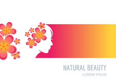Woman with flowers in hair. Female face on colorful background. Royalty Free Stock Photo