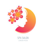 Woman with flowers in hair. Vector beauty floral logo, sign, la Stock Photo