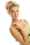Woman with flowers in her hair Stock Photos