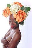 Woman With Flowers in Her Hair Royalty Free Stock Images