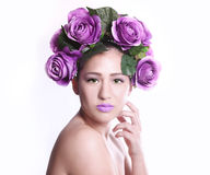 Woman With Flowers in Her Hair Royalty Free Stock Photography