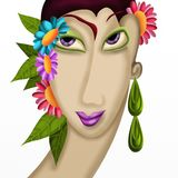 Woman with flowers in her hair Stock Photo
