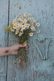 A woman with flowers in her hand in front of a door Stock Images