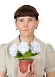 Woman with flowers. Homemade crafts. Crochet Royalty Free Stock Photo