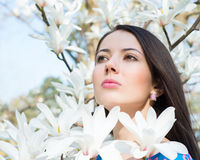 Woman in the flowers of magnolia Stock Images