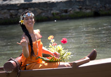 Woman with flowers at the Polynesian Cultural Center Stock Photos