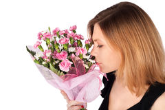 Woman with Flowers Portrait Royalty Free Stock Photography
