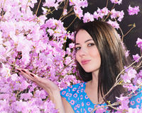 Woman in the flowers of rhododendron Stock Photo