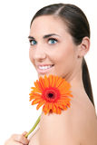 Woman with flowers on shoulder Royalty Free Stock Photo