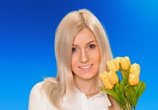 Business woman with flowers Stock Images