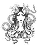 Woman with flowers and snakes. Tattoo art. Stock Images