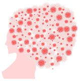Woman with hair made with flowers isolated Stock Images