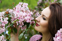 Woman by flowers on tree Stock Image