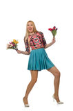 Woman with flowers on white Stock Photography