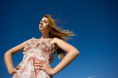 Woman a flowing hair Royalty Free Stock Photos