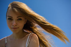 Woman a flowing hair Royalty Free Stock Image
