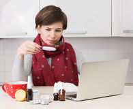 Woman with flu Royalty Free Stock Photos
