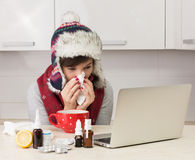 Woman with flu Royalty Free Stock Image