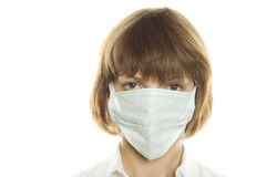 Woman With Flu Mask Stock Images