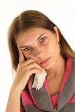 Woman with flu,no makeup Stock Image