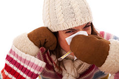 Woman with flu symptoms Stock Photography