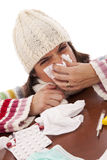 Woman with flu symptoms Stock Photos