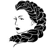 Woman with fluffy braided plait Stock Image