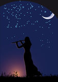 Woman with flute. Nigt, womens silhouette with flute Stock Photos
