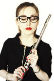 Woman with a flute and glasses on white background Royalty Free Stock Photo