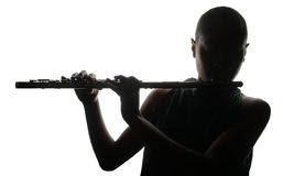 Woman with flute Stock Photo