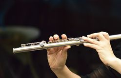 Woman flutist. Royalty Free Stock Images